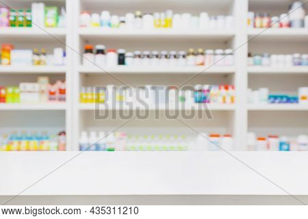 Pharmacy Store Background With White Drugstore Counter