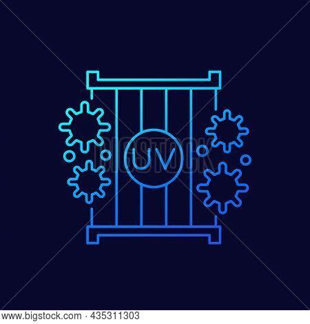 Uv Light Lamps Icon, Linear Vector Design
