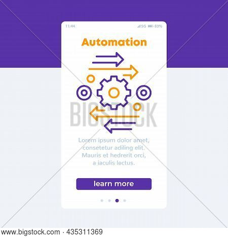 Automation Vector Banner With Line Icon, Vector