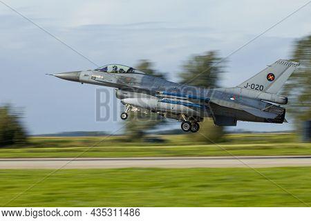 Leeuwarden Netherlands Oct. 4 2021 Weapon Instructor Course F-16 Landing