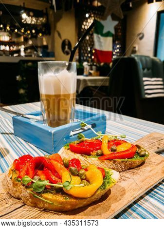 Italian Vegetarian Sandwiches With Marinated Sweet Pepper, Capers And Greens And Coffee Latte For Lu