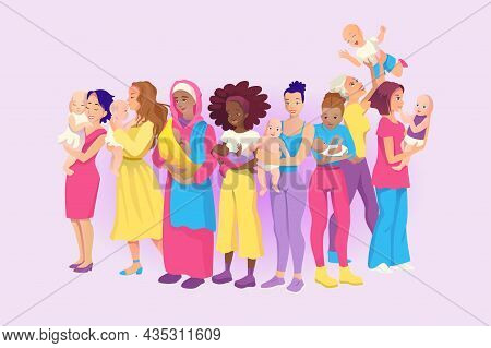 Portrait Of A Group Of Young Mothers With Babies. Kids At The Mothers Arms. Hug Baby. Vector Drawing