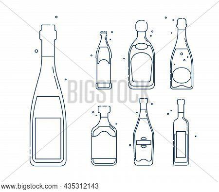 Bottle Wine Beer Liquor Champagne Rum Martini Vodka Line Art In Flat Style. Restaurant Alcoholic Ill