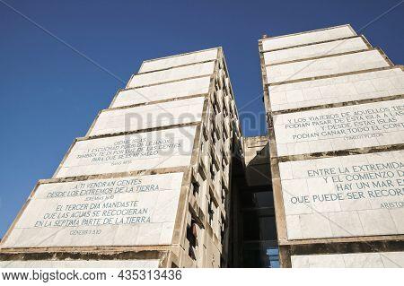 Santo Domingo, Dominican Republic - January 11, 2017: Facade Of The Columbus Lighthouse. Constructio
