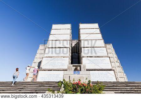 Santo Domingo, Dominican Republic - January 11, 2017: Tourists Visit The Columbus Lighthouse. It Is