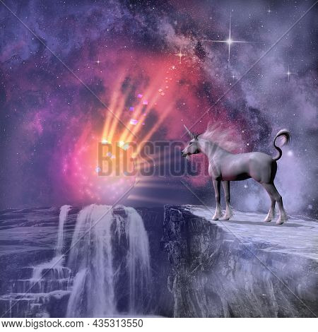 Cosmic Unicorn 3d Illustration - A Fantasy Image Of A White Male Unicorn And The Sun In A Dazzling D