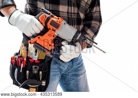 Carpenter Holding Rechargeable Hammer Drill, Isolated On White Background.