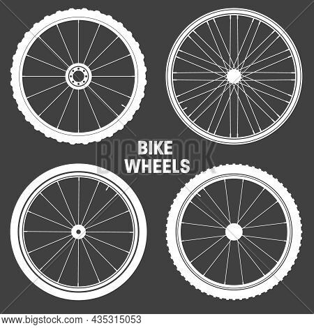Bicycle Wheel Symbols Collection. Bike Rubber Tyre Silhouettes. Fitness Cycle, Road And Mountain Bik
