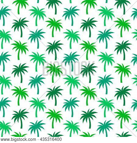 Palm Trees Pattern. Seamless Background With Green Coconut Palm Trees On White, Vector