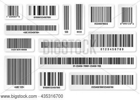 Set Of Product Barcodes. Identification Tracking Code. Serial Number, Product Id With Digital Inform
