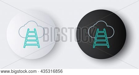 Line Ladder Leading To Cloud Icon Isolated On Grey Background. Stairs Leading To The Cloud. Colorful