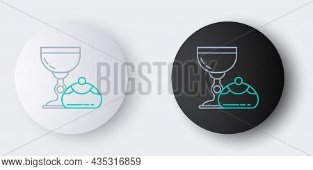 Line Jewish Goblet And Hanukkah Sufganiyot Icon Isolated On Grey Background. Jewish Sweet Bakery. Wi