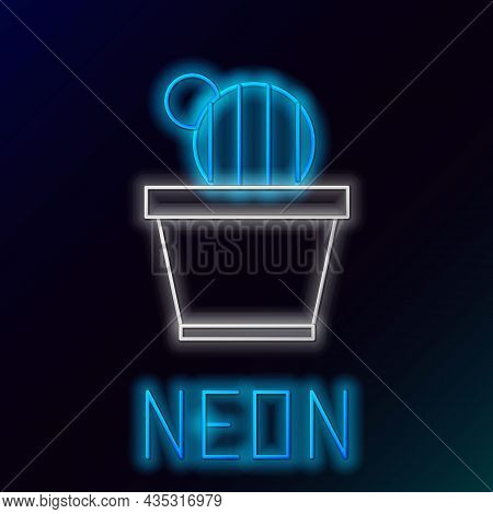 Glowing Neon Line Cactus And Succulent In Pot Icon Isolated On Black Background. Plant Growing In A
