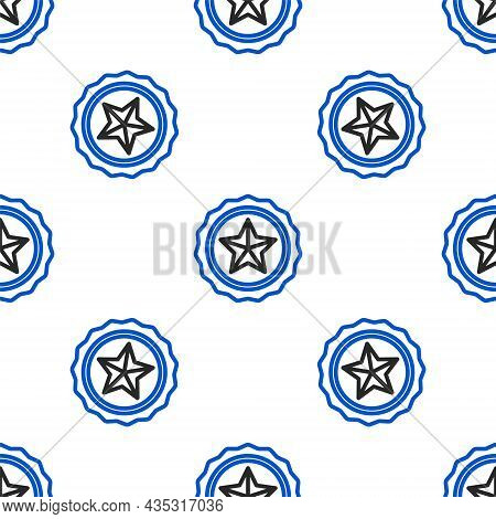 Line Police Badge Icon Isolated Seamless Pattern On White Background. Sheriff Badge Sign. Colorful O