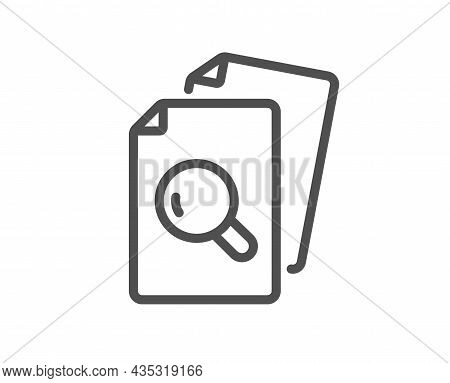 Inspect Line Icon. Research Documents Sign. Search File Symbol. Quality Design Element. Line Style I