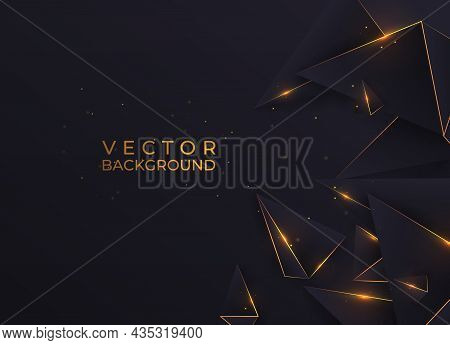 Abstract Dark Polygon Triangles Shape Golden Luxury Background With Golden Line And Lighting Effect