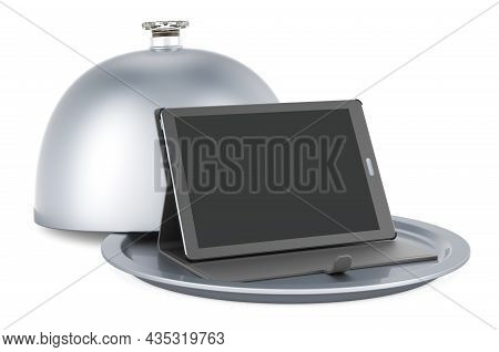 Restaurant Cloche With Tablet Computer, 3d Rendering Isolated On White Background