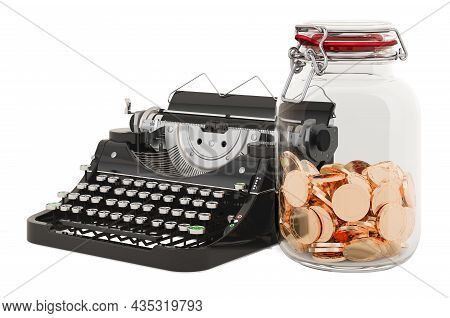 Typewriter With Glass Jar Full Of Golden Coins, 3d Rendering Isolated On White Background