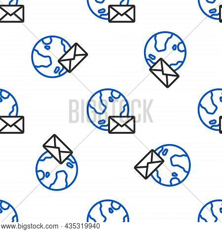 Line Earth Globe With Mail And E-mail Icon Isolated Seamless Pattern On White Background. Envelope S