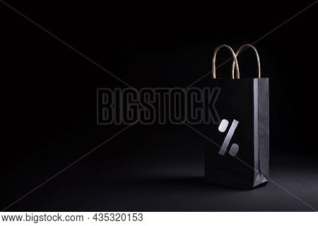 Black Friday, Cyber Monday Sale Concept, Black Recyclable Paper Shopping Bag With A Discount Percent