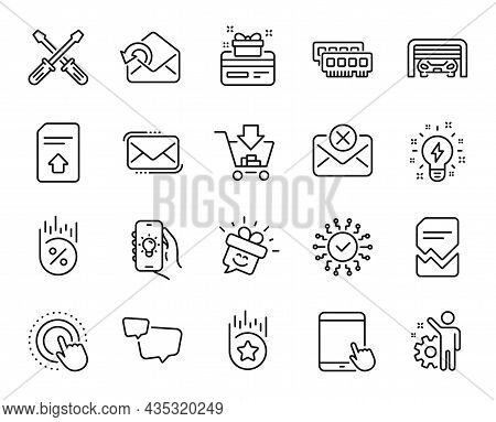 Vector Set Of Smile, Security Network And Reject Mail Line Icons Set. Messenger Mail, Click Hand And