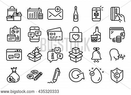 Vector Set Of Copyright Protection, Payment Card And Browser Window Line Icons Set. Calendar Report,