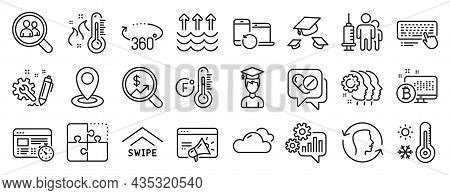 Set Of Science Icons, Such As Medical Drugs, Recovery Devices, Throw Hats Icons. Employees Teamwork,