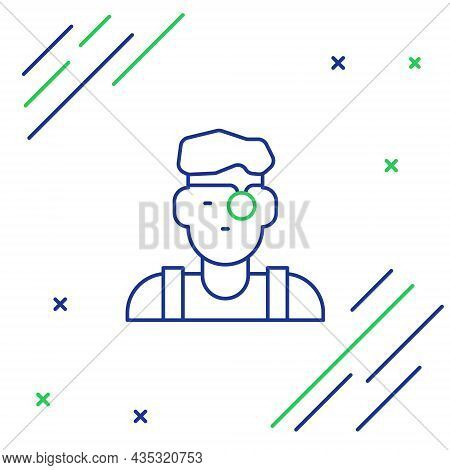 Line Jeweler Man Icon Isolated On White Background. Colorful Outline Concept. Vector