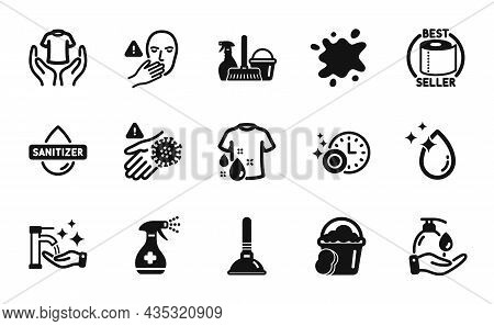 Vector Set Of Hold T-shirt, Wash T-shirt And Dont Touch Icons Simple Set. Toilet Paper, Water Drop A