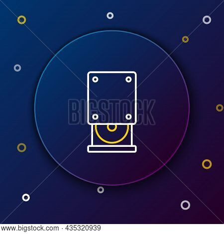Line Optical Disc Drive Icon Isolated On Blue Background. Cd Dvd Laptop Tray Drive For Read And Writ