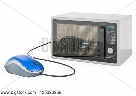 Microwave Oven With Computer Mouse. 3d Rendering Isolated On White Background