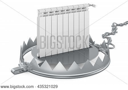 Bear Trap With Heating Radiator, 3d Rendering Isolated On White Background