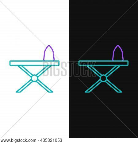 Line Electric Iron And Ironing Board Icon Isolated On White And Black Background. Steam Iron. Colorf
