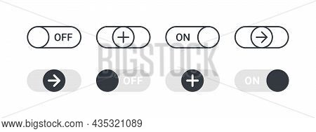 Switch Icons. Switches With Different Signs. Toggle Element For Mobile App, Web Design, Animation. V