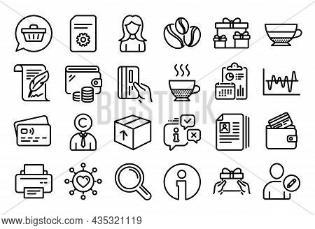 Vector Set Of Package, Stock Analysis And Shopping Cart Line Icons Set. Calendar Report, Money Walle