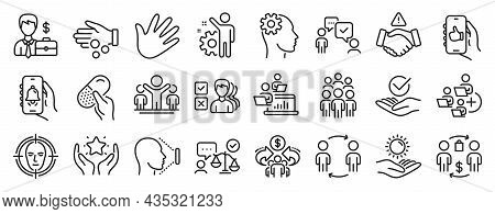 Set Of People Icons, Such As Workflow, Dont Handshake, Businessman Case Icons. Approved, Winner, Fac