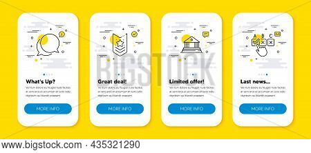 Vector Set Of Court Building, Shoulder Strap And Chat Message Line Icons Set. Ui Phone App Screens W