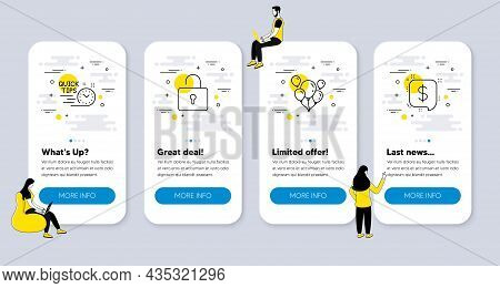 Vector Set Of Business Icons Related To Balloons, Lock And Quick Tips Icons. Ui Phone App Screens Wi