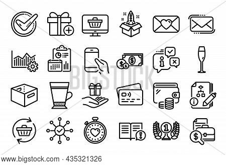 Vector Set Of Add Gift, Champagne Glass And Hold Smartphone Line Icons Set. Calendar Report, Money W