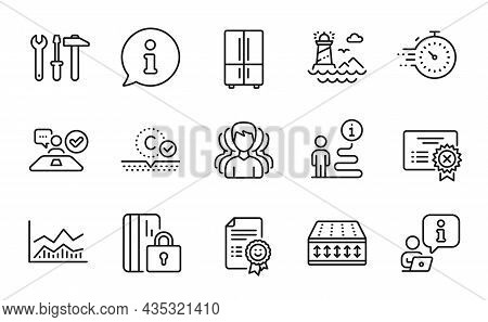 Line Icons Set. Included Icon As Flexible Mattress, Collagen Skin, Reject Certificate Signs. Timer,