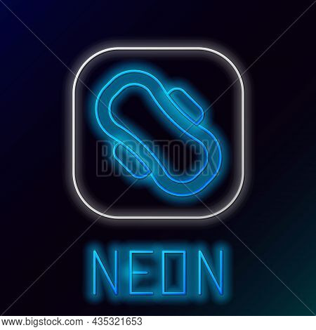 Glowing Neon Line Menstruation And Sanitary Napkin Icon Isolated On Black Background. Feminine Hygie