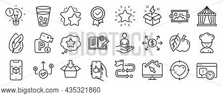 Set Of Business Icons, Such As Like App, Parking Security, Work Home Icons. Time Management, Circus