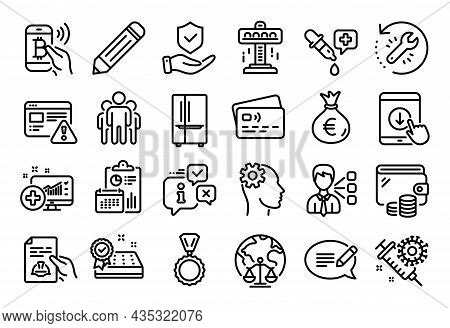 Vector Set Of Refrigerator, Message And Third Party Line Icons Set. Calendar Report, Money Wallet An