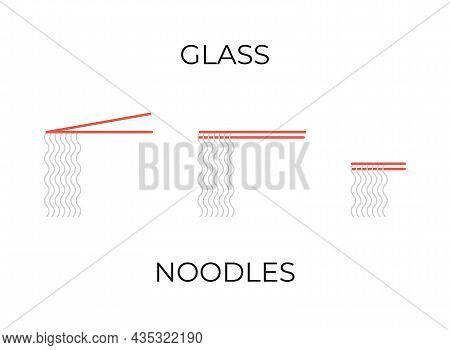 Chopsticks Holding Glass Noodles Icons Set. Glass Noodles Different Illustrations Collection For Res