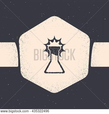 Grunge Test Tube And Flask Icon Isolated On Grey Background. Chemical Laboratory Test. Laboratory Gl
