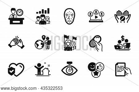 Vector Set Of Eye Laser, Life Insurance And Capsule Pill Icons Simple Set. Teamwork Results, Present