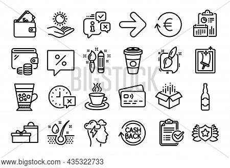 Vector Set Of Serum Oil, Wallet And Sun Protection Line Icons Set. Calendar Report, Money Wallet And