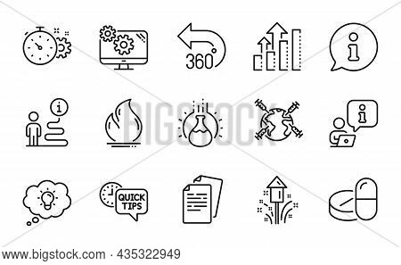 Science Icons Set. Included Icon As Analysis Graph, Energy, Documents Signs. Cogwheel Timer, Firewor