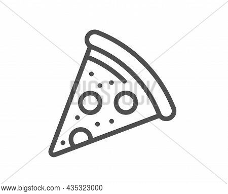 Pizza Slice Line Icon. Pizzeria Food Sign. Fast Food Symbol. Quality Design Element. Line Style Pizz