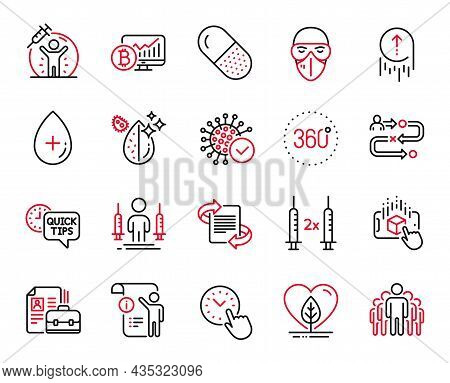 Vector Set Of Science Icons Related To Medical Mask, 360 Degrees And Quick Tips Icons. Swipe Up, Loc